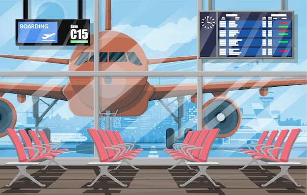 Sala de espera en la terminal de pasajeros del aeropuerto