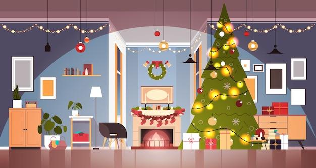 Sala de estar con abeto decorado y guirnaldas para año nuevo concepto de celebración de vacaciones de navidad ilustración de vector horizontal interior de casa