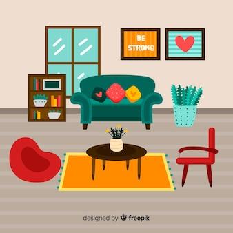 Sala de estar adorable con diseño plano