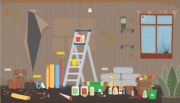 Sala de estar de basura antes de la reparación. interior plano sucio en estilo de dibujos animados.