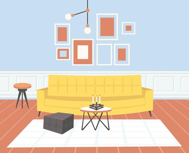 Sala de estar contemporánea interior vacío no gente hogar moderno apartamento horizontal