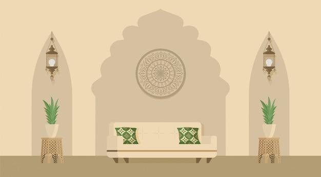 Sala de estar de diseño árabe o indio decorada con linternas árabes. estilo oriental de decoración de habitaciones.