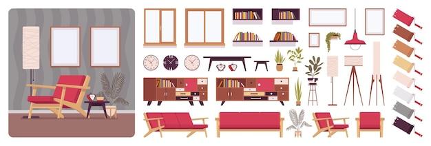 Sala de estar diseño de interiores de casa completa.