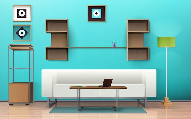 Sala de estar de diseño isométrico