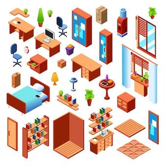Sala de estar doméstica, dormitorio o sala de trabajo colección de objetos de interior de muebles