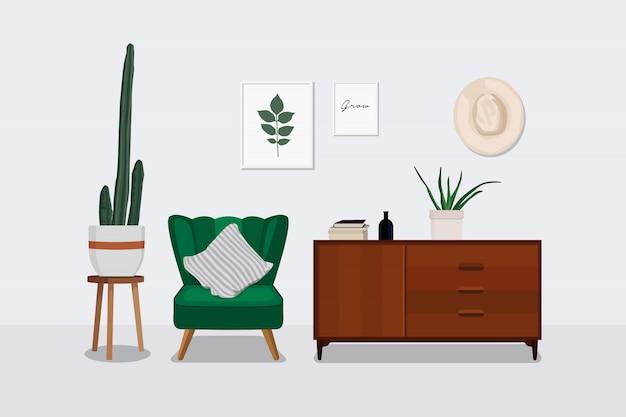 Sala de estar escandinava de diseño de interiores.
