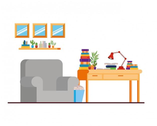 Sala de estar con escritorio y libros