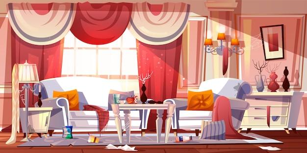 Sala de estar en estilo clásico provenzal con horrible desorden