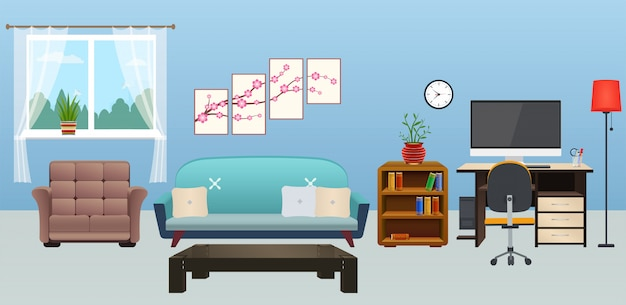 Sala de estar interior con muebles.