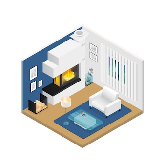 Sala de estar isométrica interior con chimenea