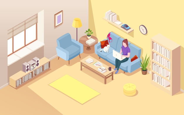 Sala de estar isométrica con mujer freelance.