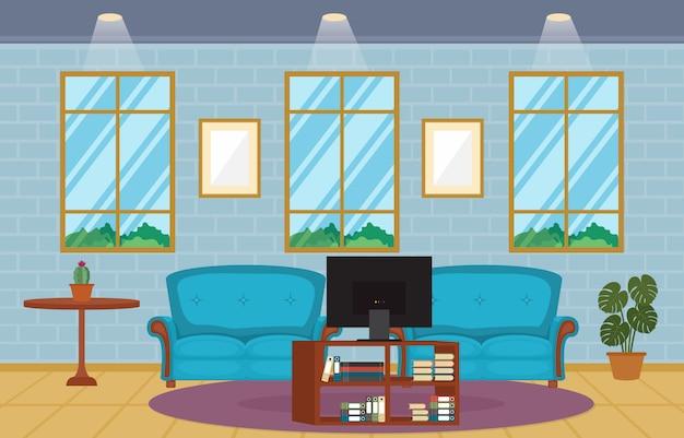 Sala de estar moderna casa de la familia interior muebles ilustración vectorial