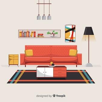 Sala de estar moderna dibujada a mano