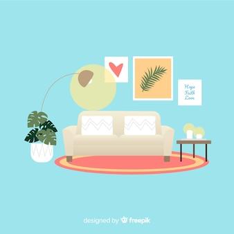 Sala de estar moderna con diseño plano