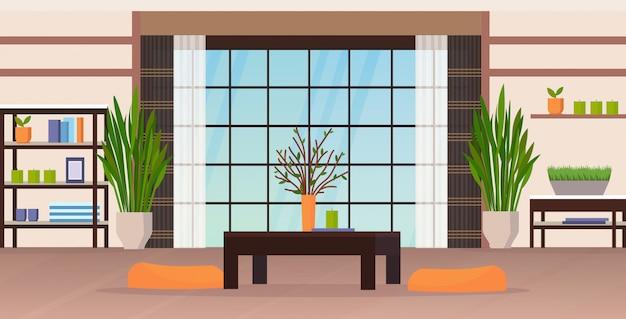 Sala de estar moderna interior vacío nadie casa apartamento con muebles planos horizontales
