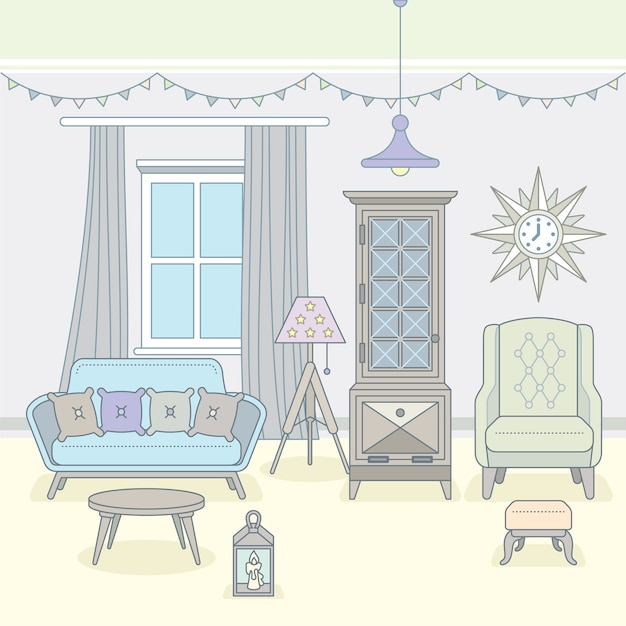 Sala de estar con muebles. interior acogedor. ilustración.