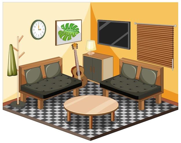 Sala de estar con muebles isométricos.