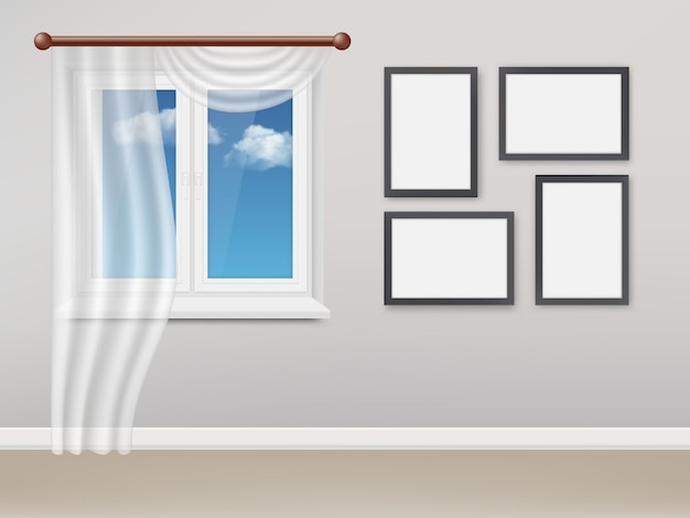Sala de estar realista con ventana de plástico blanco y cortinas.