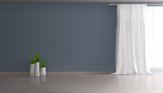 Sala de estar, sala de apartamentos, interior, interior, fondo realista en 3d con cortina blanca en ventana grande, pared azul, parquet o piso laminado, grupo de macetas con plantas verdes ilustración