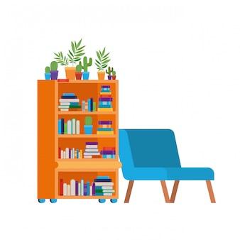 Sala de estar con sofá y estantería de libros.
