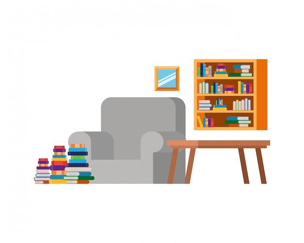 Sala de estar con sofá y pila de libros.
