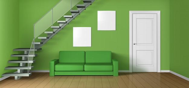 Sala de estar vacía con sofá, escalera y puerta.