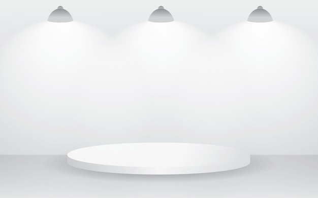Sala de estudio blanca vacía para mostrar el contenido del producto.