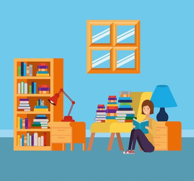 Sala de estudio en casa con libros.