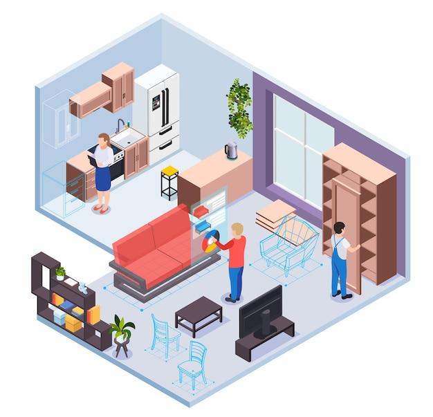 Sala de exposición de muebles con servicio de realidad virtual secciones de cocina y sala de estar personajes de visitantes y trabajadores isométricos