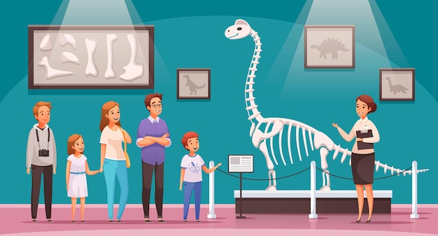 Sala de exposiciones con ilustración de dinosaurios.