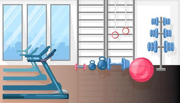 Sala de fitness con cinta de correr y equipamiento deportivo.