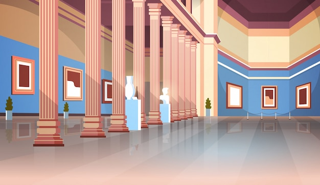 Sala de la galería de arte del museo histórico clásico con columnas interiores antiguas exhibiciones y esculturas colección plana horizontal