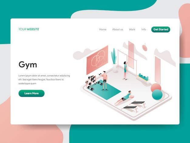 Sala de gimnasio ilustración isométrica. página de destino