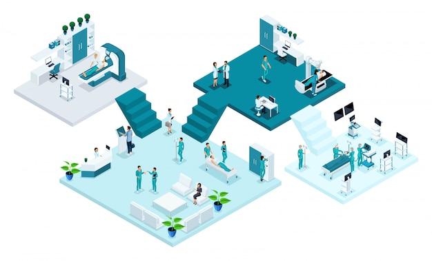 Sala del hospital, asistencia sanitaria y tecnología innovadora, personal médico, pacientes, examen y diagnóstico de la enfermedad, cirugía