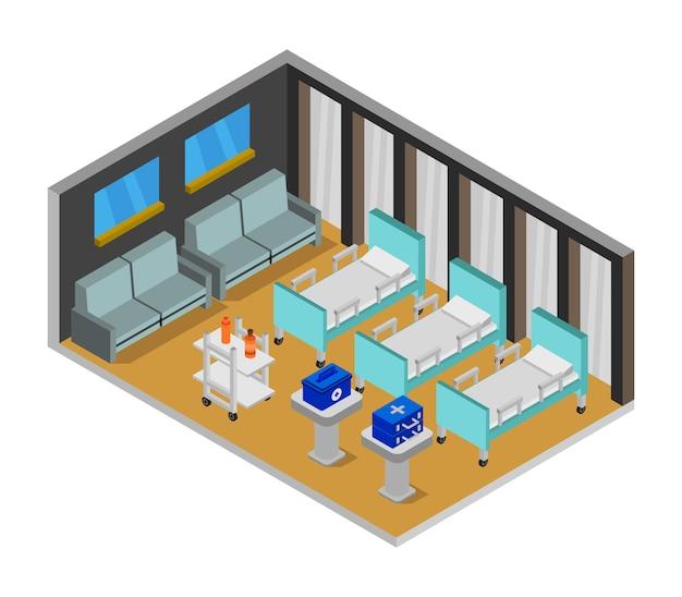 Sala de hospital isométrica