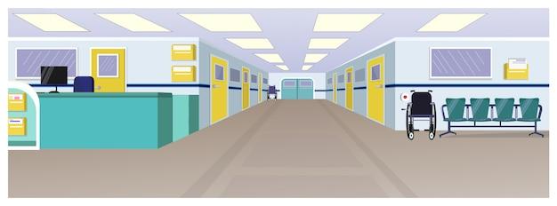 Sala de hospital con recepción, puertas en pasillo y sillas.
