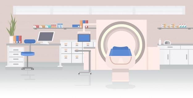 Sala de hospital con resonancia magnética mri dispositivo de escaneo concepto de atención médica