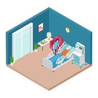Sala de hospital, vector interior de reanimación. enfermera isométrica cuidando a hombre mayor.