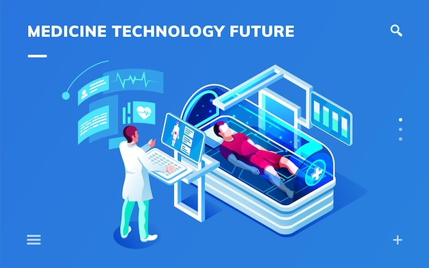 Sala isométrica médica futurista con médico que realiza diagnóstico o servicio de medicina
