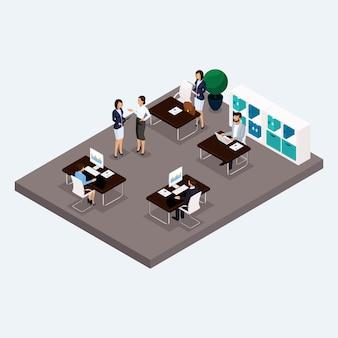 Sala isométrica oficina de varios pisos, oficinistas 3d hombres y mujeres de negocios