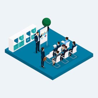 Sala isométrica oficina de varios pisos, reunión de coaches de capacitación de gpuppovoe