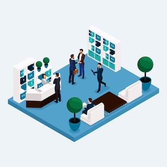Sala isométrica trabajadores de oficina de varios pisos 3d hombres y mujeres de negocios en el vestíbulo en la recepción aislada