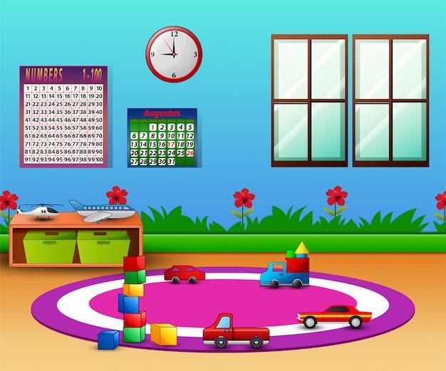 Sala de jardín de infancia vacía con muebles y juguetes.