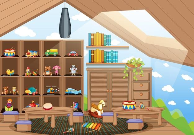 Sala de jardín de infantes vacía con muchos juguetes para niños