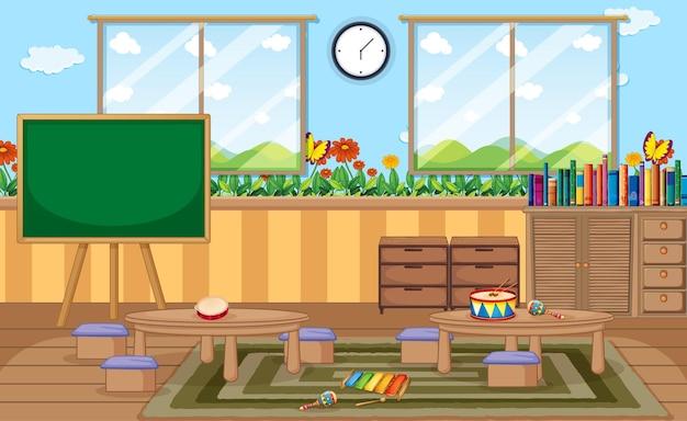 Sala de jardín de infantes vacía con objetos de aula y decoración de interiores
