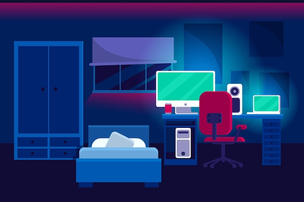 Sala de juegos de diseño plano