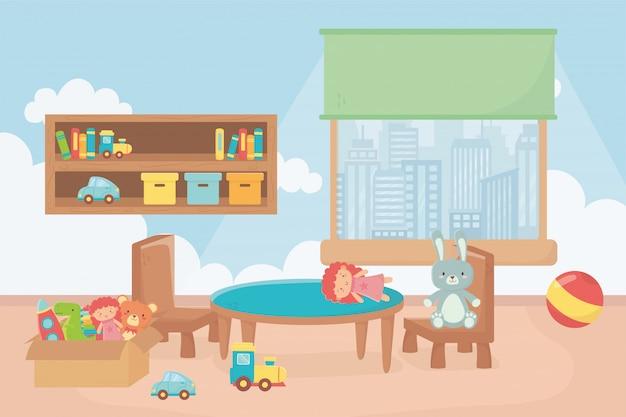 Sala de juegos con estantes cajas bola mesa silla ventana ciudad