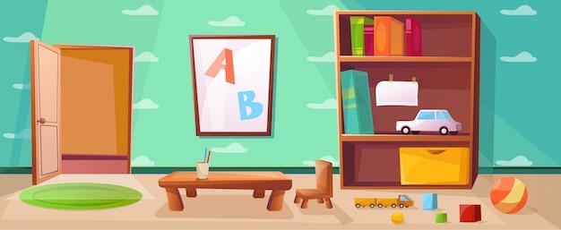 Sala de juegos de jardín de infantes con juegos, juguetes, abc y puerta abierta