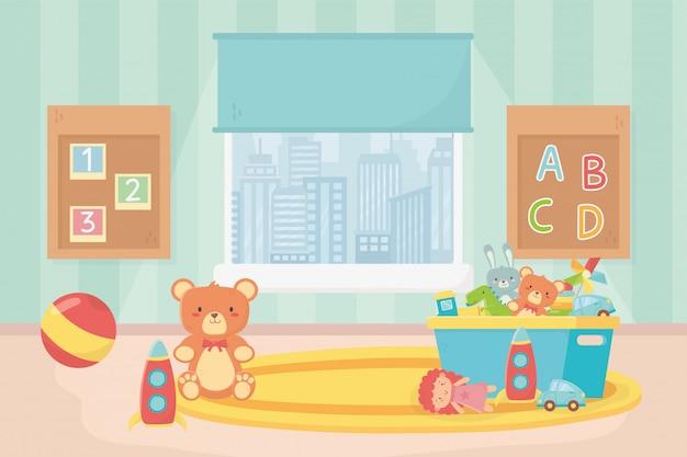 Sala de juegos juguetes tablero números alfabeto bola oso cubo alfombra ventana