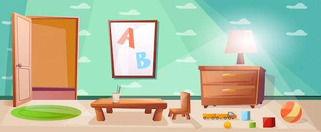 Sala de juegos para niños con juegos, juguetes, abc y mesa de noche con lámpara.